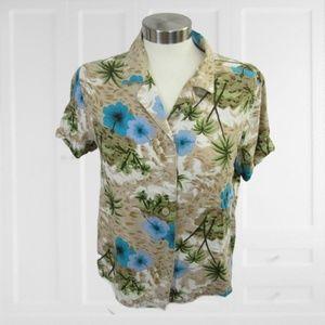 White Stag Women Hawaiian Shirt floral vintage M